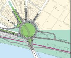 Rendering of the new Barney Circle from the 2005 Middle Anacostia River Crossings Study.