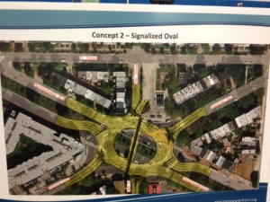 Concept 2 would create a traffic oval at the Penn-Potomac intersection.