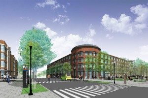 Rendering of North Building, which would be located directly east of the Stadium-Armory Metro Plaza.