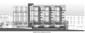 Rendering of Proposed Residential Building at 1500 Pennsylvania Avenue SE.