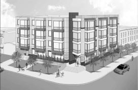Rendering of 41-unit condo building planned for 1500 Penn Ave SE. Produced by Bonstra Haresign Architects.